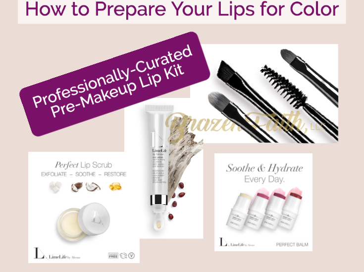 LimeLife by Alcone How to Prepare Your Lips for LimeLife Color, Enduring Lip Colors, Perfect Lipstick, Lip Scrub, Eye Arise, Perfect Balm, Application tools, Classified Brushes, Brow Tamer 14, Lip 12, concealer 6, Jean Lucas, professionally-curated by LimeLife Educator James Vincent.
